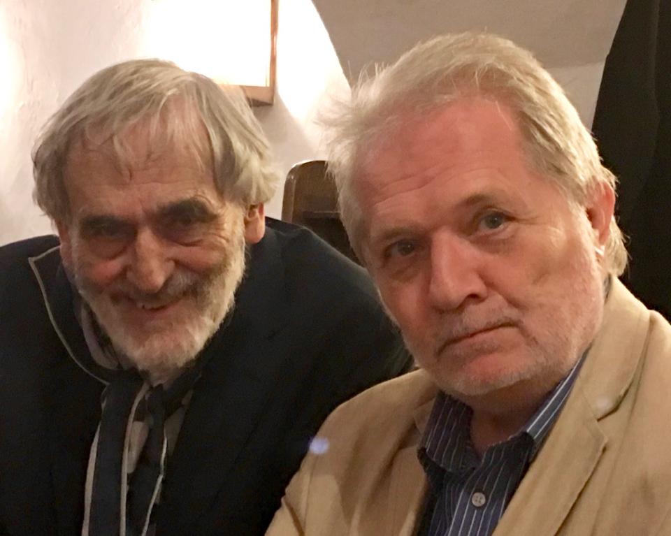 """Helmut Lachenmann mit Peter Eötvös, UA-Dirigent von """"My Melodies"""""""
