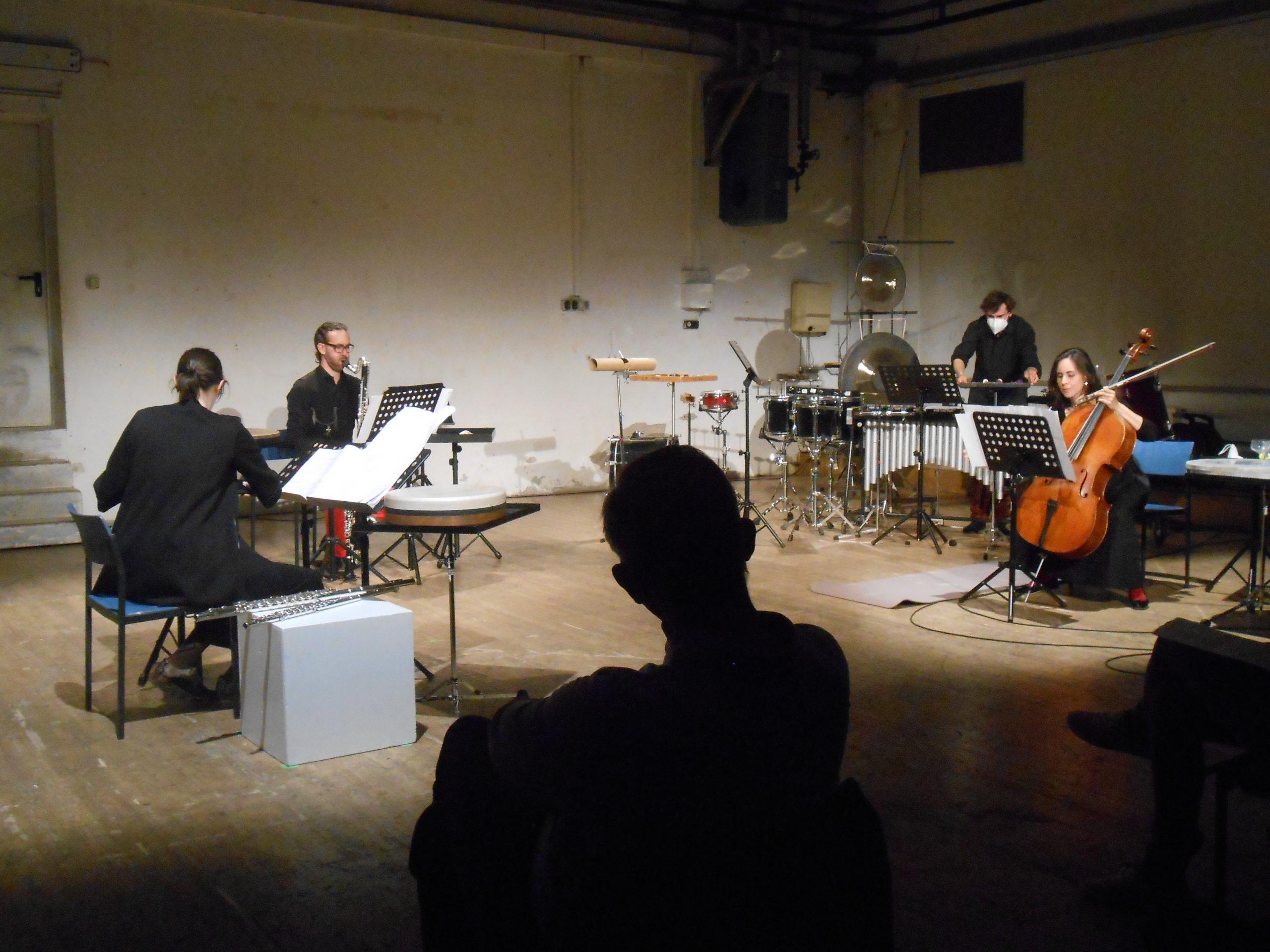 Das Ensemble der gelbe klang bei der CD-Taufe mit Michael Quell, Schwere Reiter München